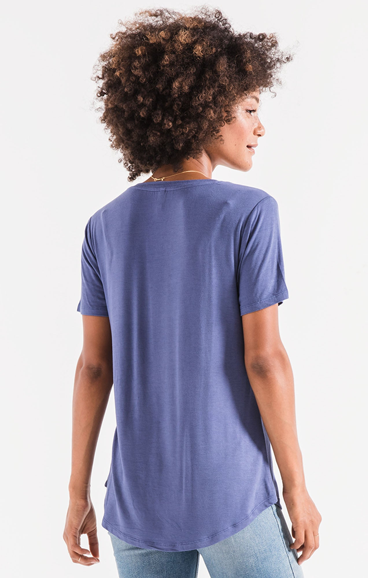 Tops Sleek Jersey Pocket Tee Coastal Blue