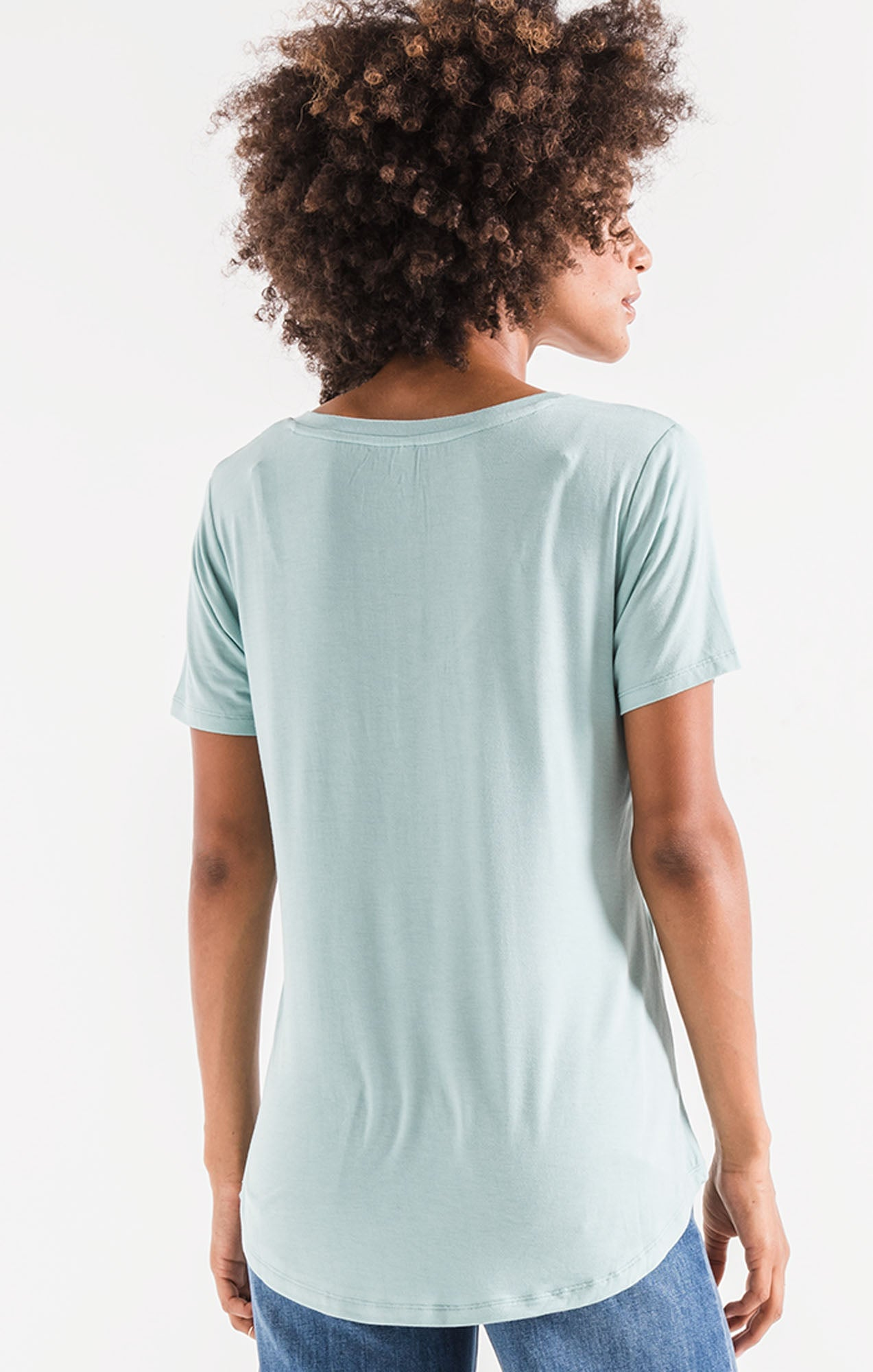 Tops Sleek Jersey Pocket Tee Fair Aqua