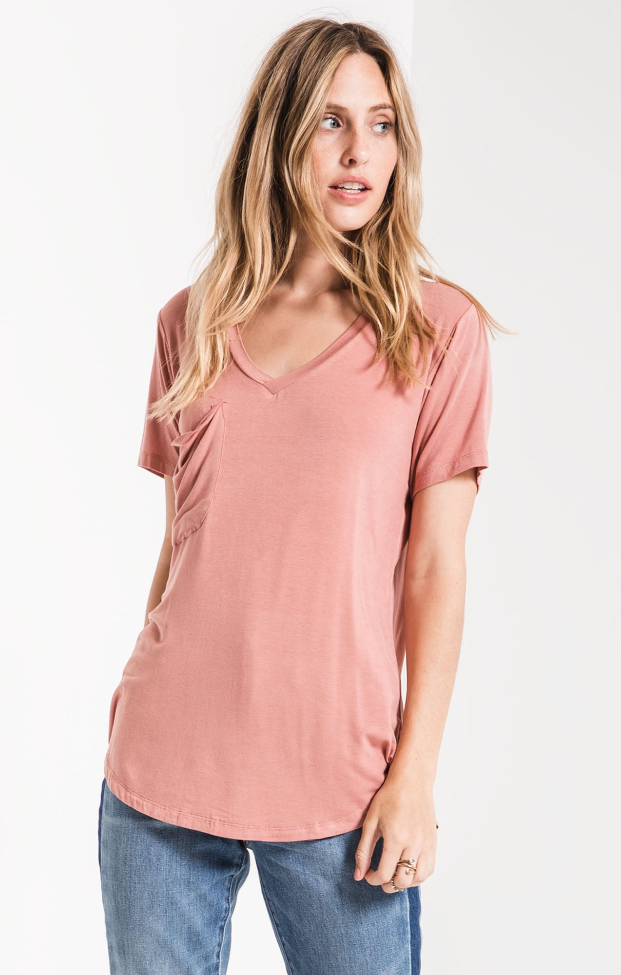 Tops The Sleek Jersey Pocket Tee Old Rose