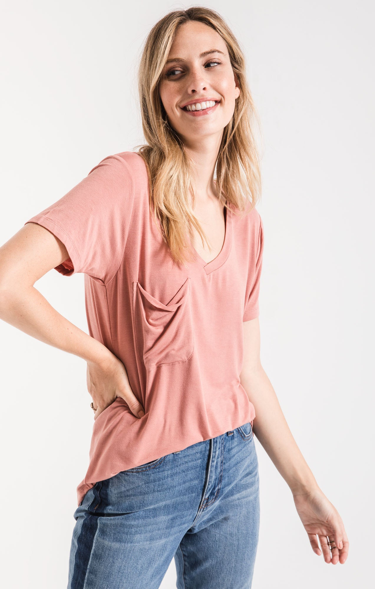 Tops Sleek Jersey Pocket Tee Old Rose