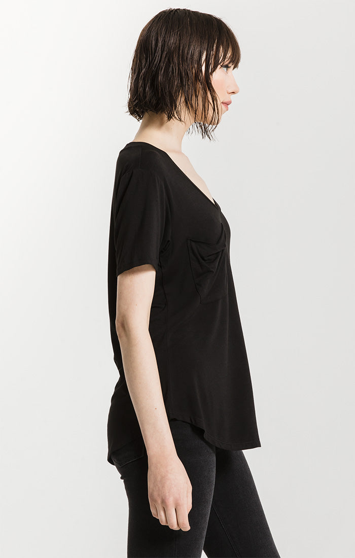 Tops Sleek Jersey Pocket Tee Black