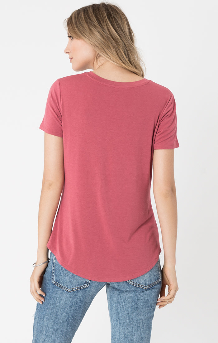 Tops Sleek Jersey Pocket Tee Earth Red