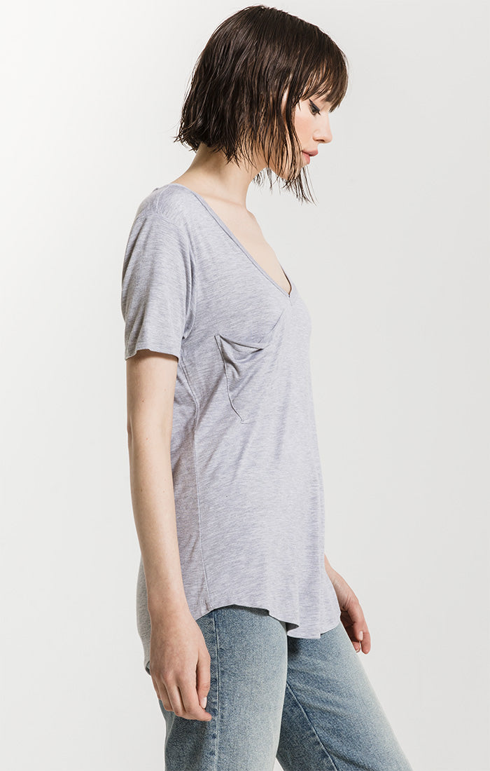 Tops The Sleek Jersey Pocket Tee Heather Grey