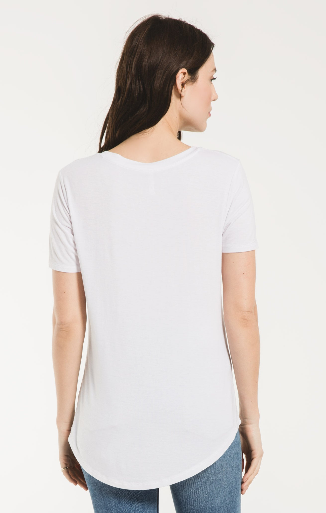 Tops Sleek Jersey Pocket Tee White