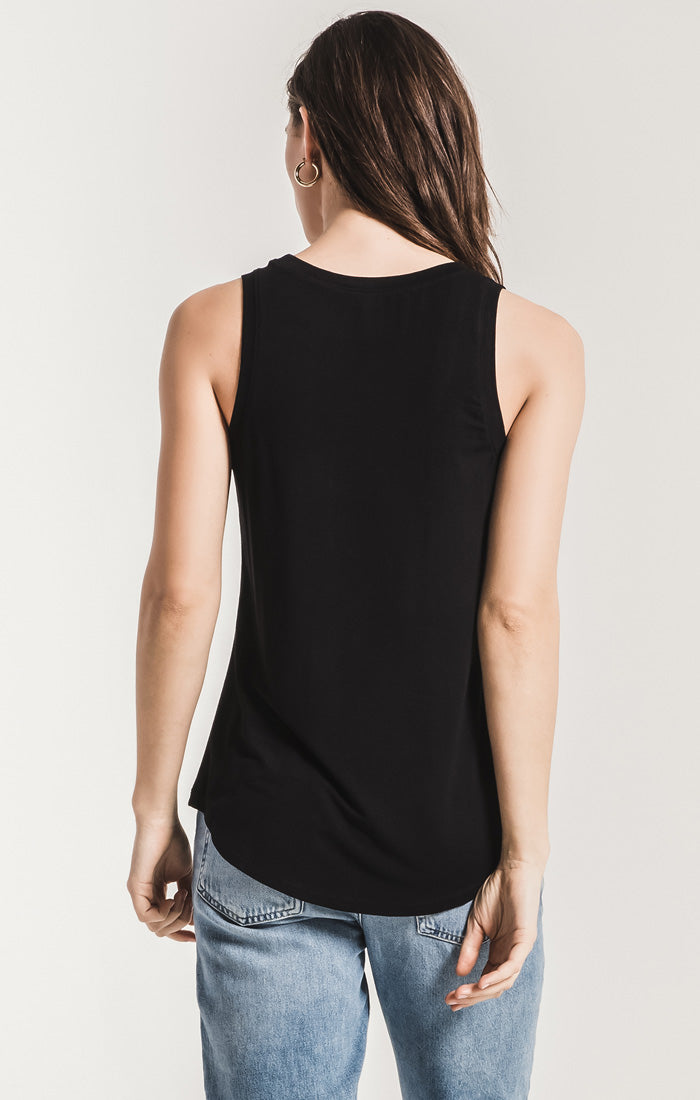Tops The Sleek Jersey Tank Black