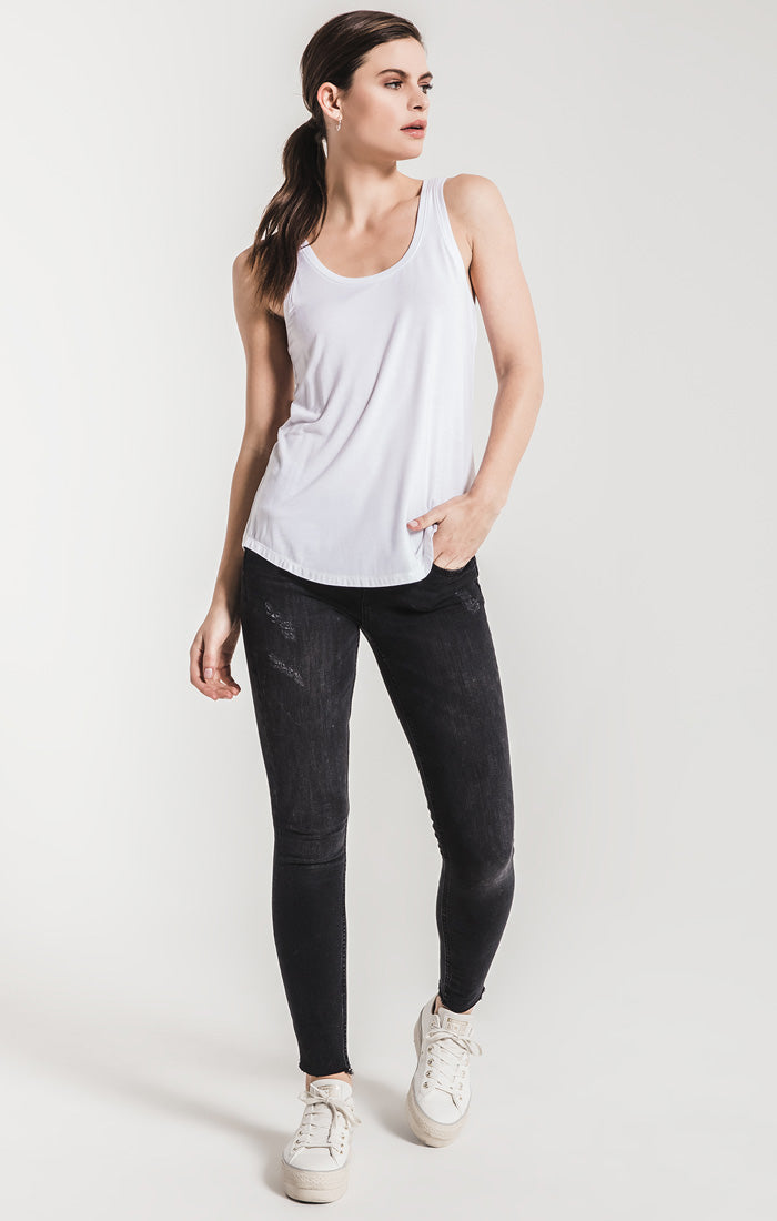 Tops The Sleek Jersey Tank White