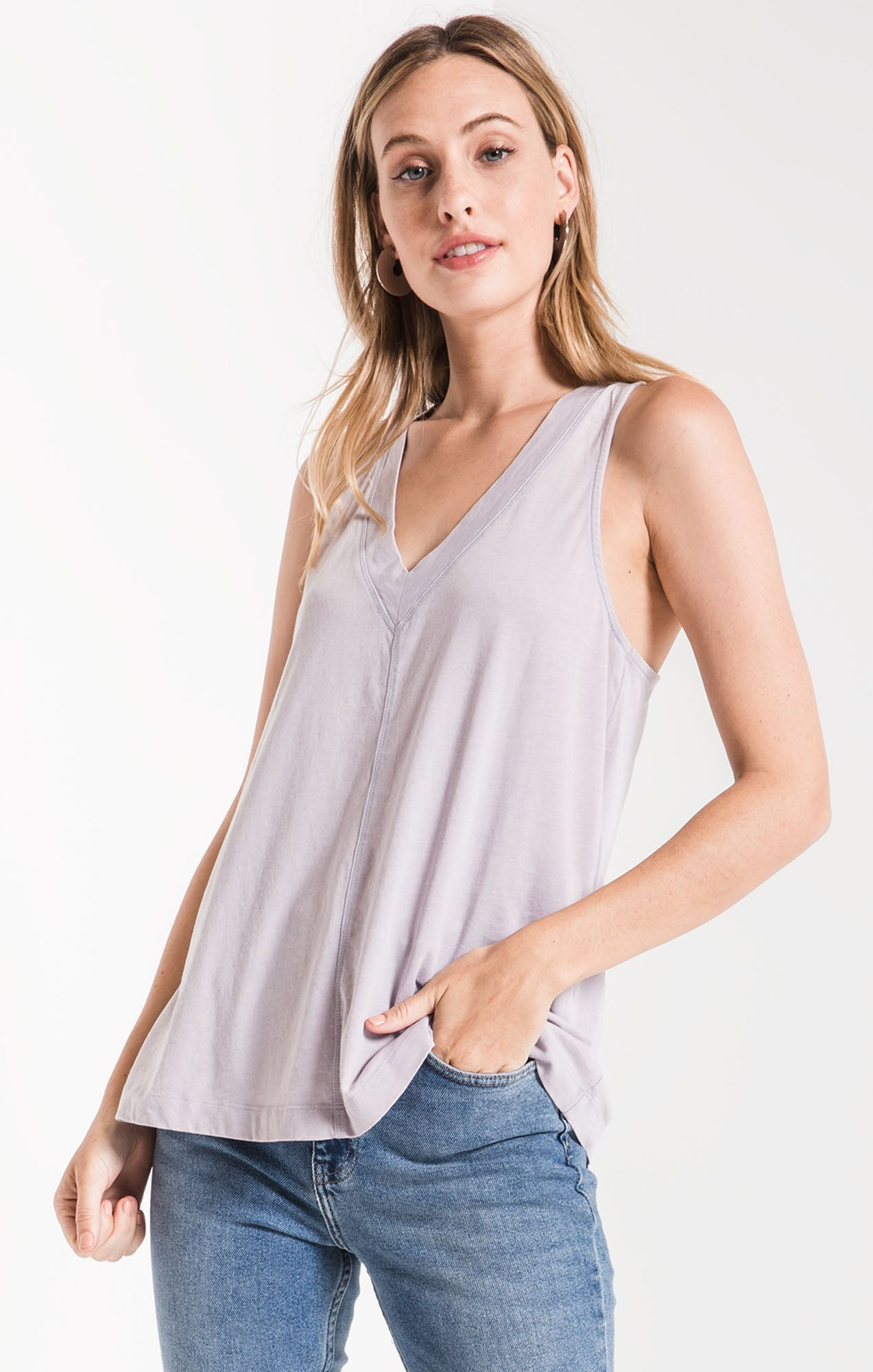 Tops The City Racerback Tank Dapple Grey