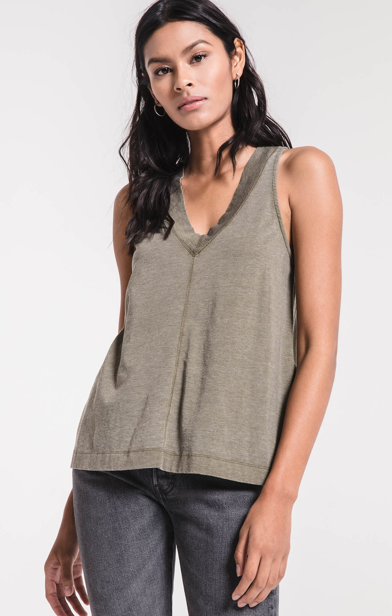 Tops The City Racerback Tank Olive Night