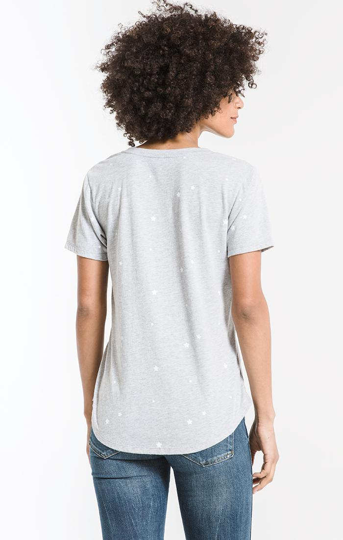 Tops The Star Print V-Neck Tee Heather Grey/White