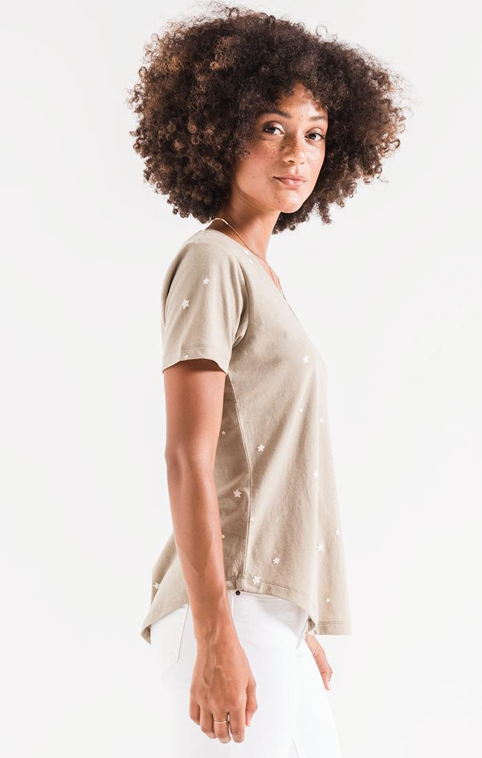 Tops The Star Print V-Neck Tee Silver Sage/Pearl