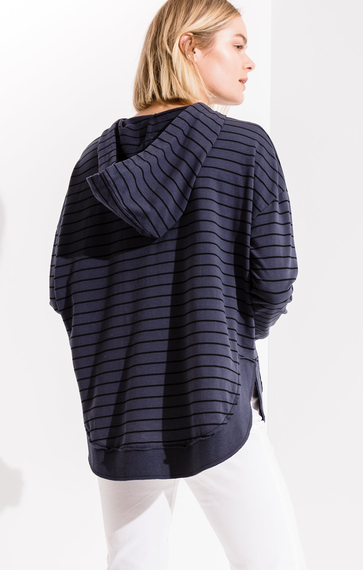 Tops Striped Dakota Pullover Hoodie Indigo Denim/Black