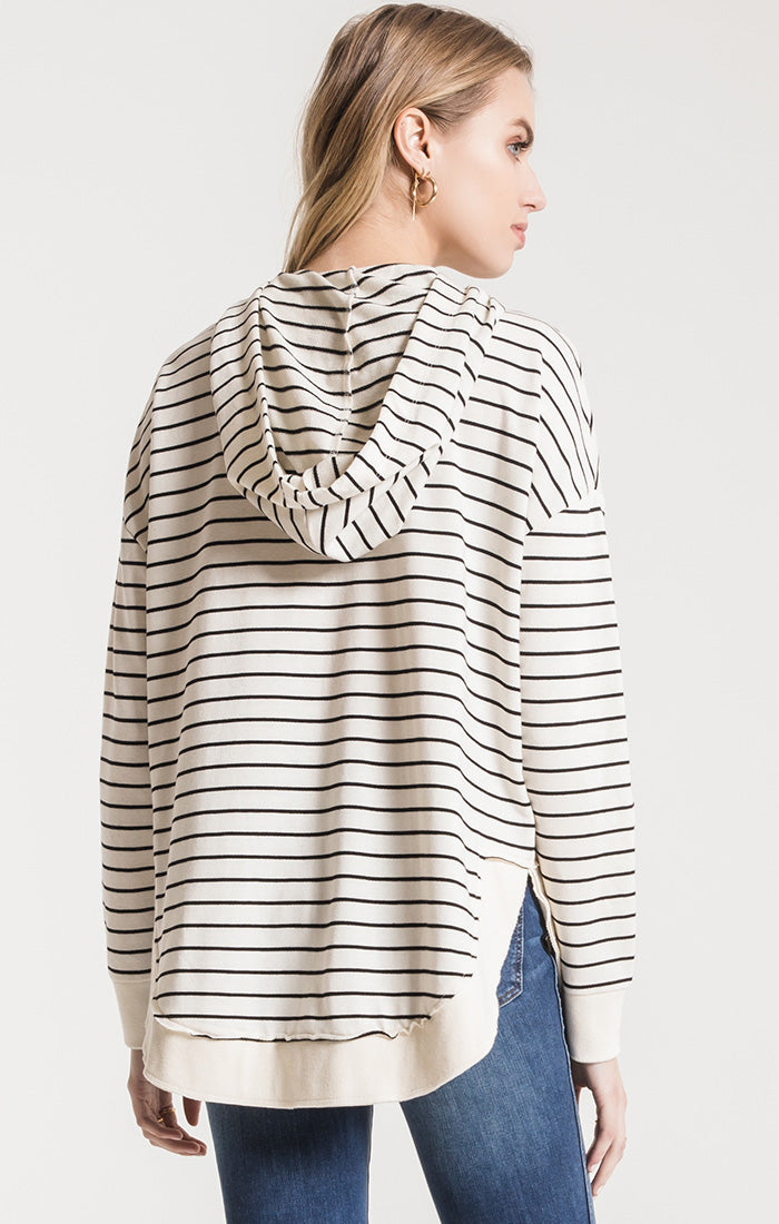 Tops Striped Dakota Pullover Hoodie Pearl/Black
