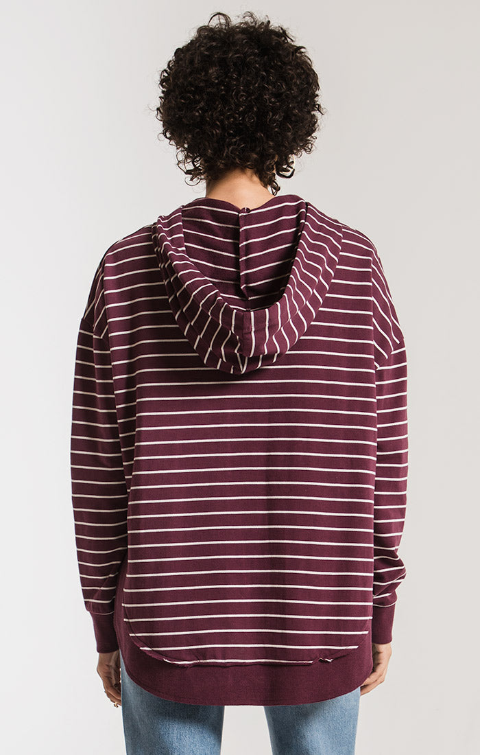 Tops Striped Dakota Pullover Hoodie Pearl/Mauve Wine