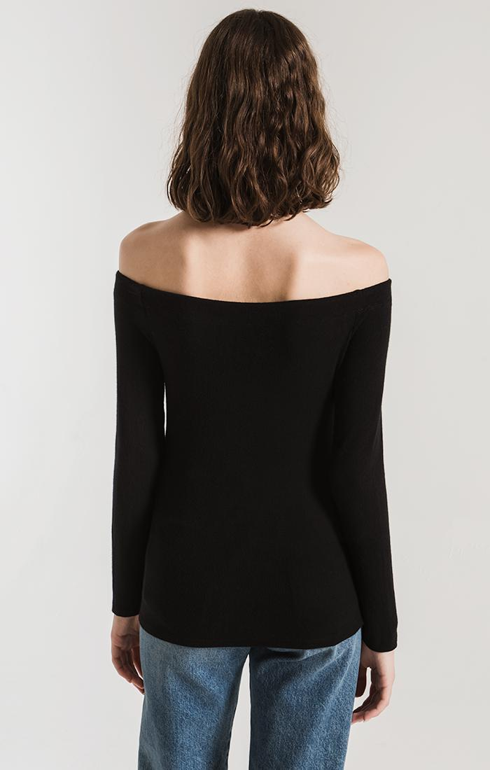 Tops The Long Sleeve Ribbed Off-The-Shoulder Top Black