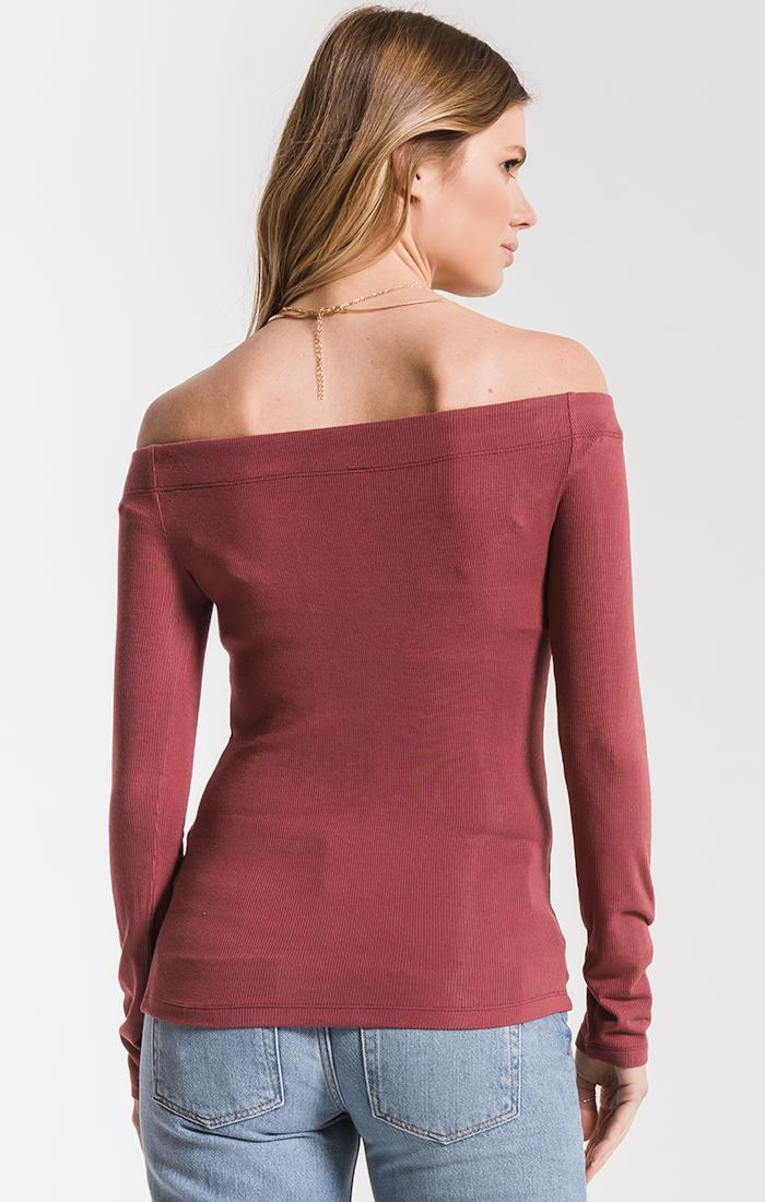 Tops The Long Sleeve Ribbed Off-The-Shoulder Top Crushed Berry