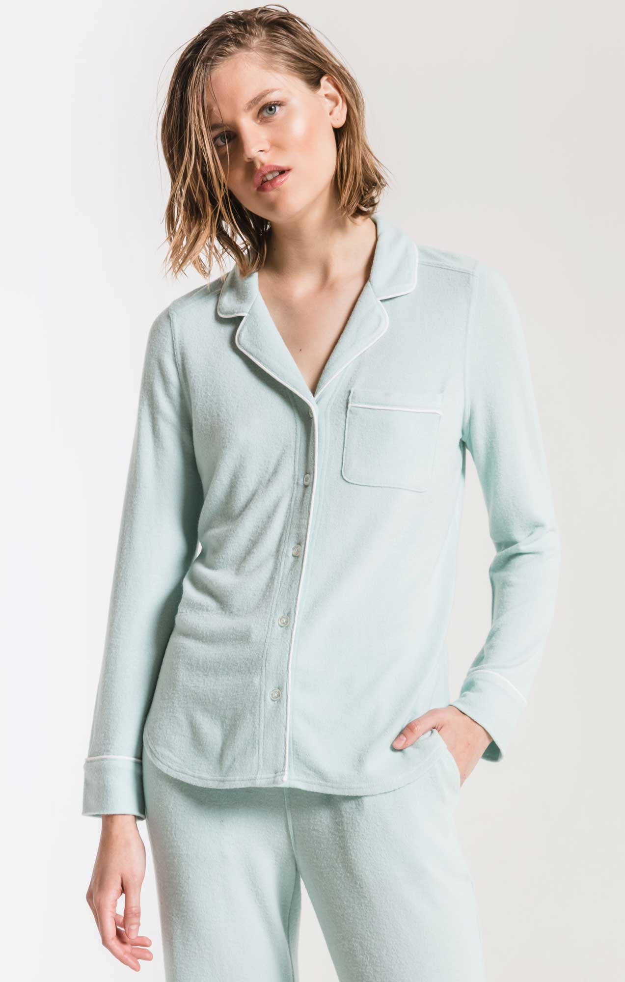 Lounge The Luxe Menswear Pajama Shirt Blue Haze