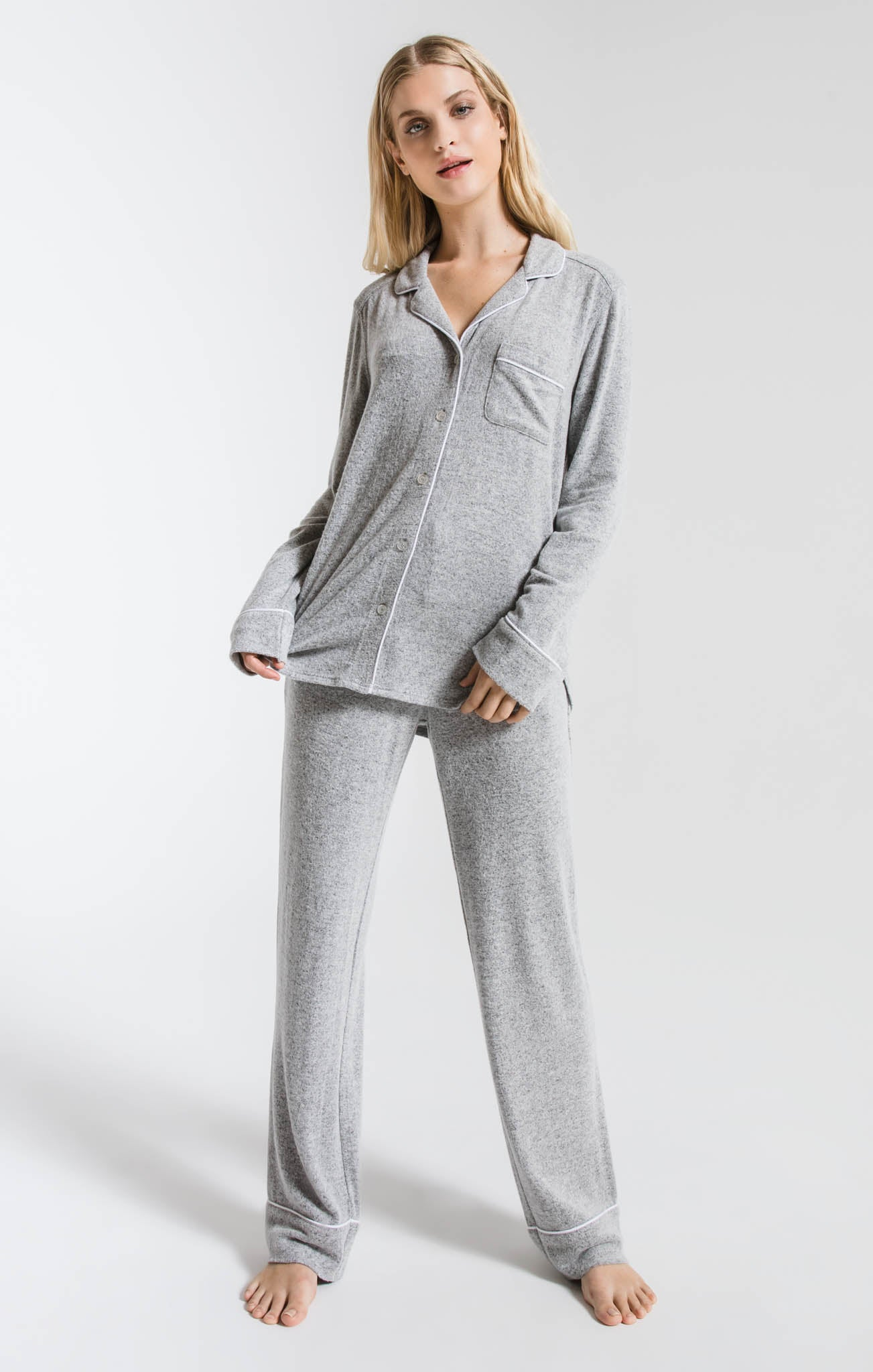 Lounge The Luxe Menswear Pajama Shirt Heather Grey