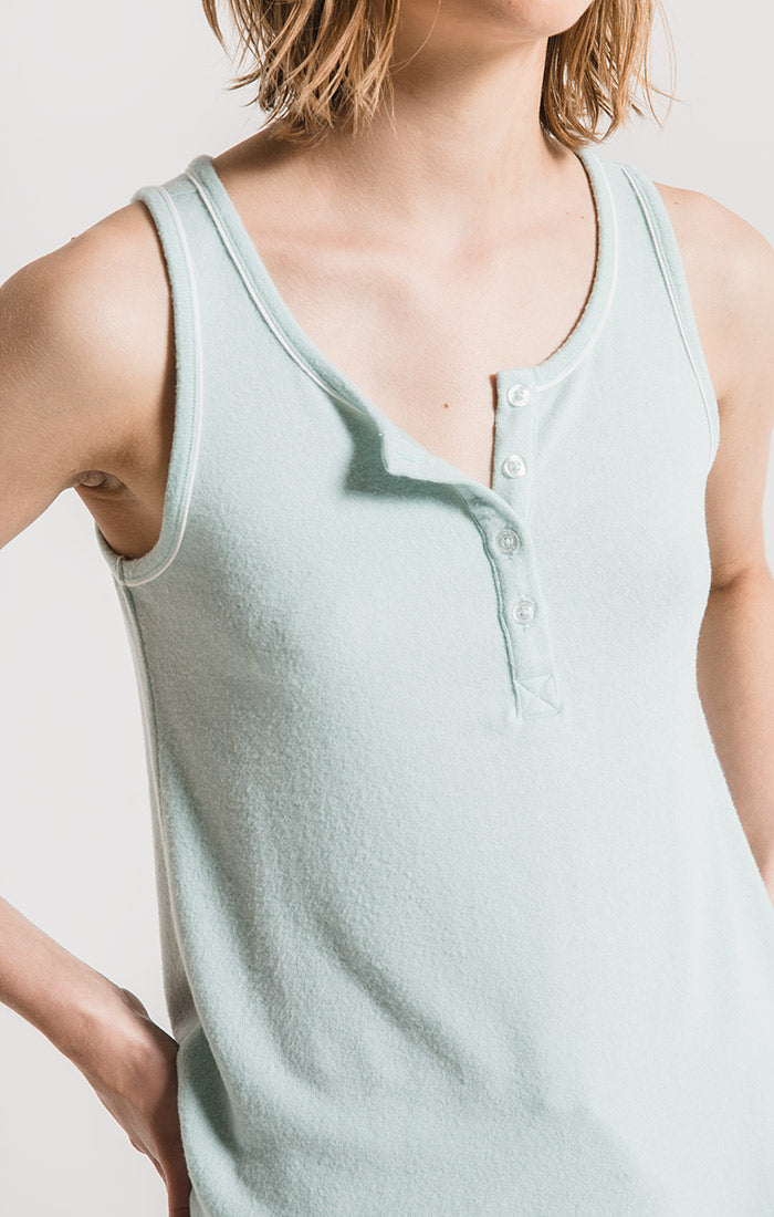 Lounge Luxe Henley Tank Top Blue Haze