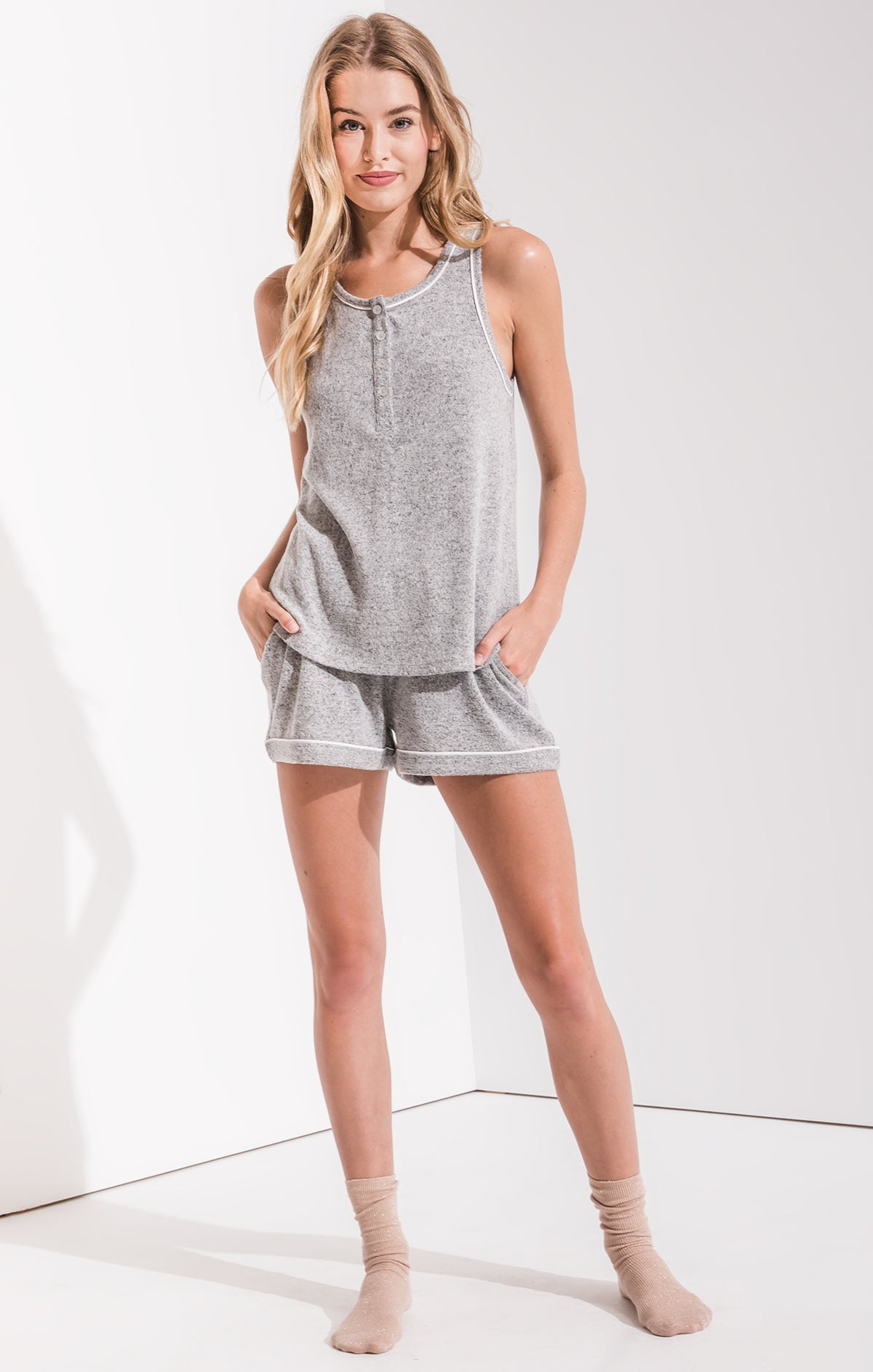 Lounge The Luxe Henley Tank Top Heather Grey