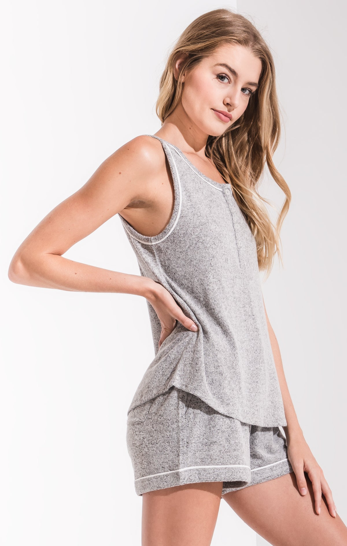 Lounge Luxe Henley Tank Top Heather Grey
