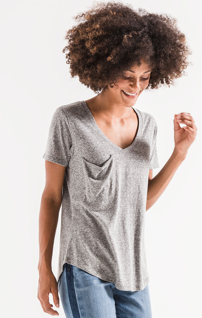 Tops The Triblend Pocket Tee Heather Grey