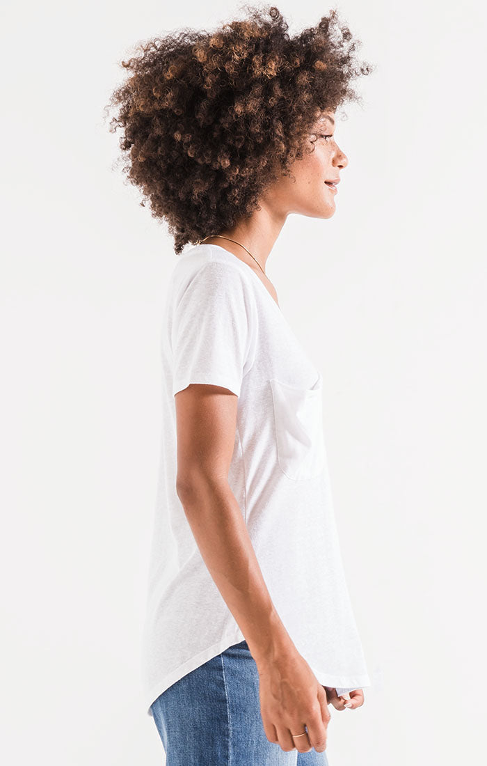 Tops The Triblend Pocket Tee White