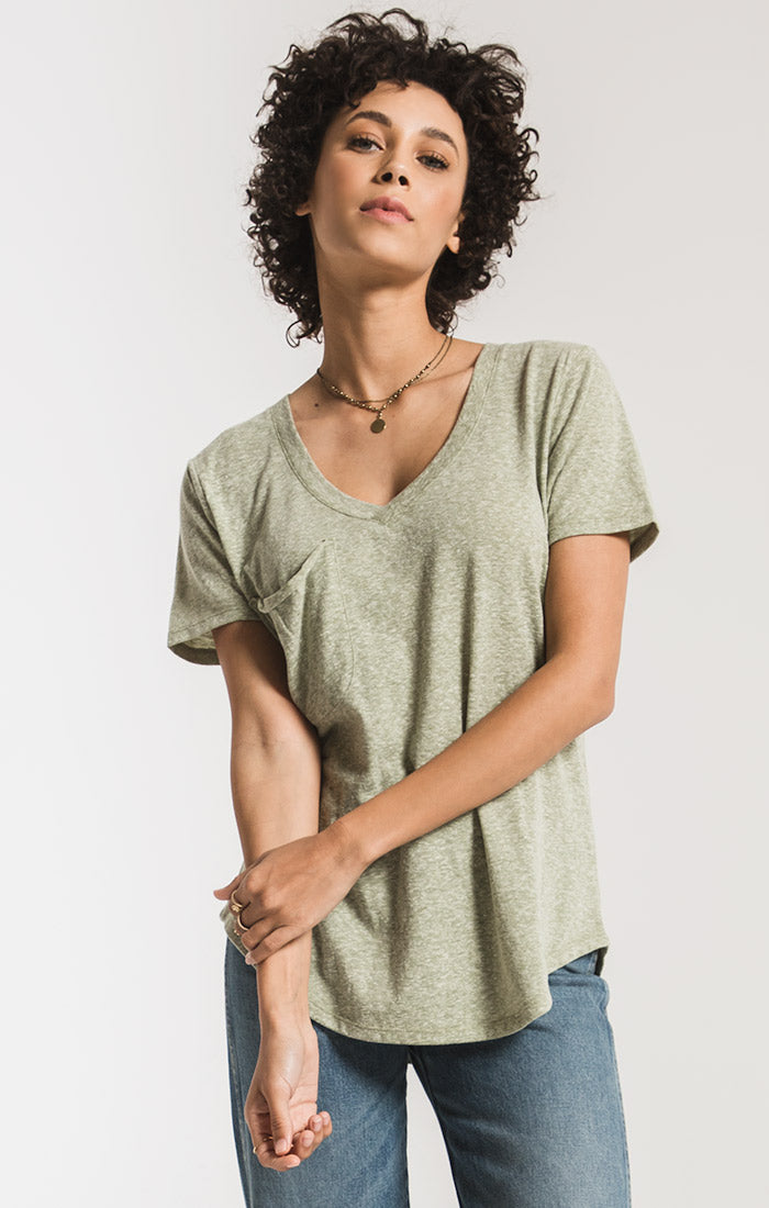 Tops Triblend Pocket Tee Oil Green