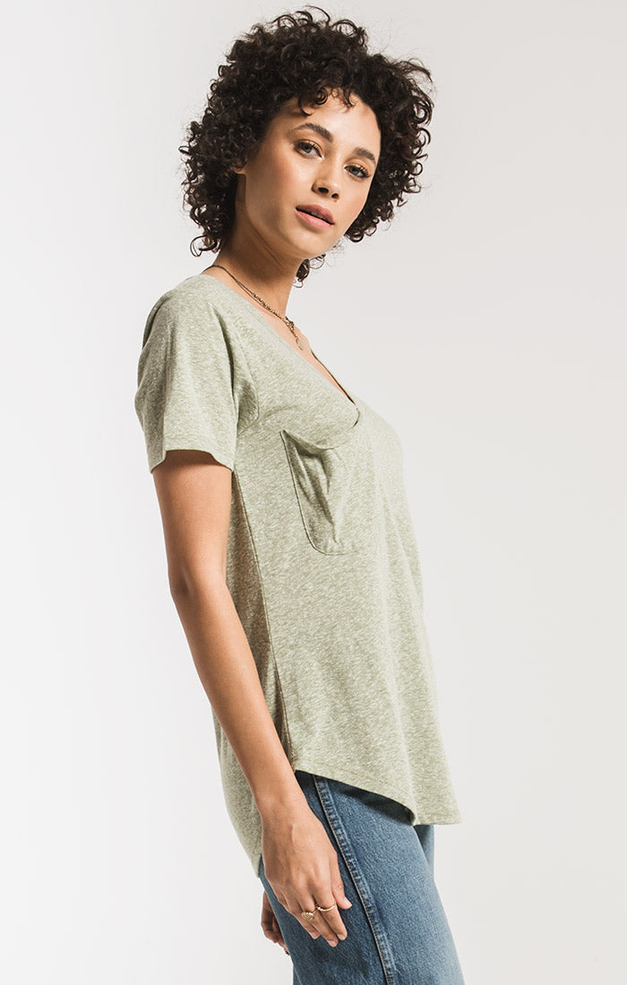 Tops The Triblend Pocket Tee Oil Green