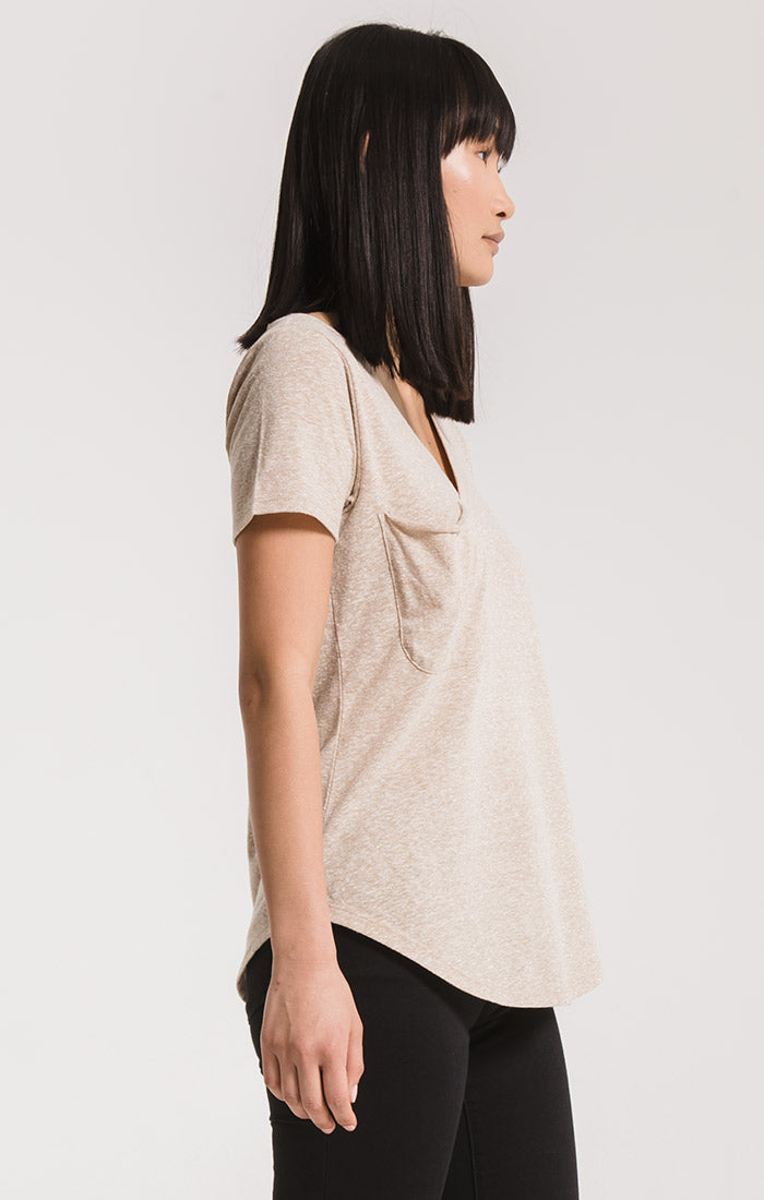 Tops Triblend Pocket Tee Simply Taupe