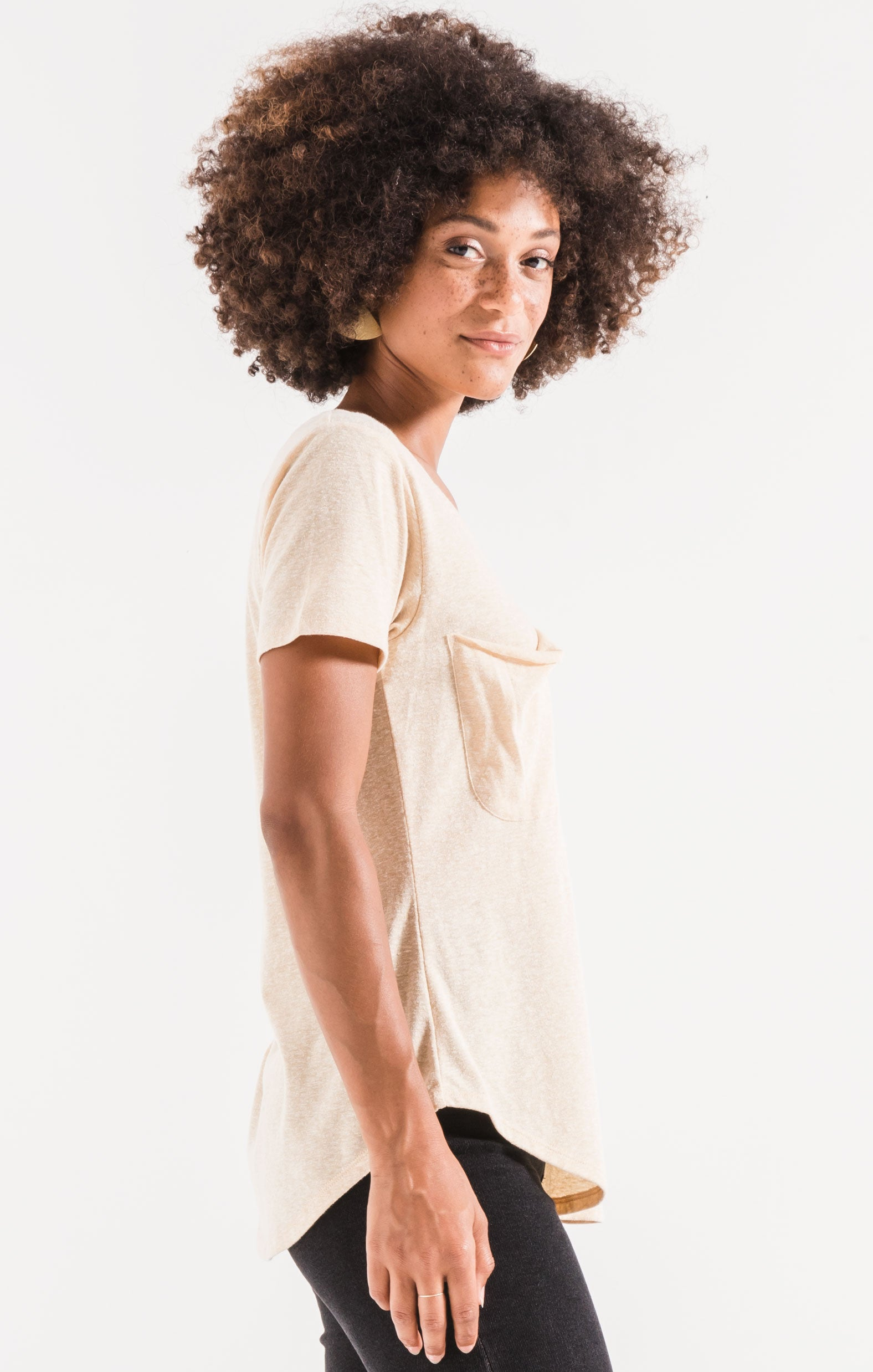 Tops The Triblend Pocket Tee Yellow Cream