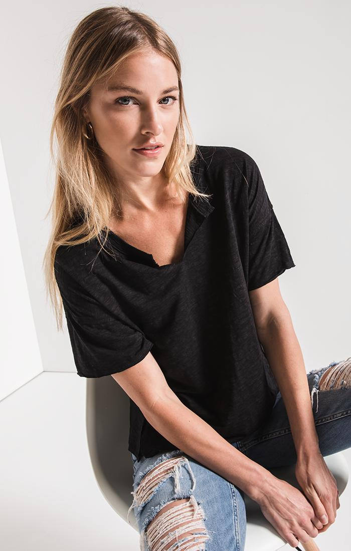 Tops Airy Slub Slouchy Tee Black