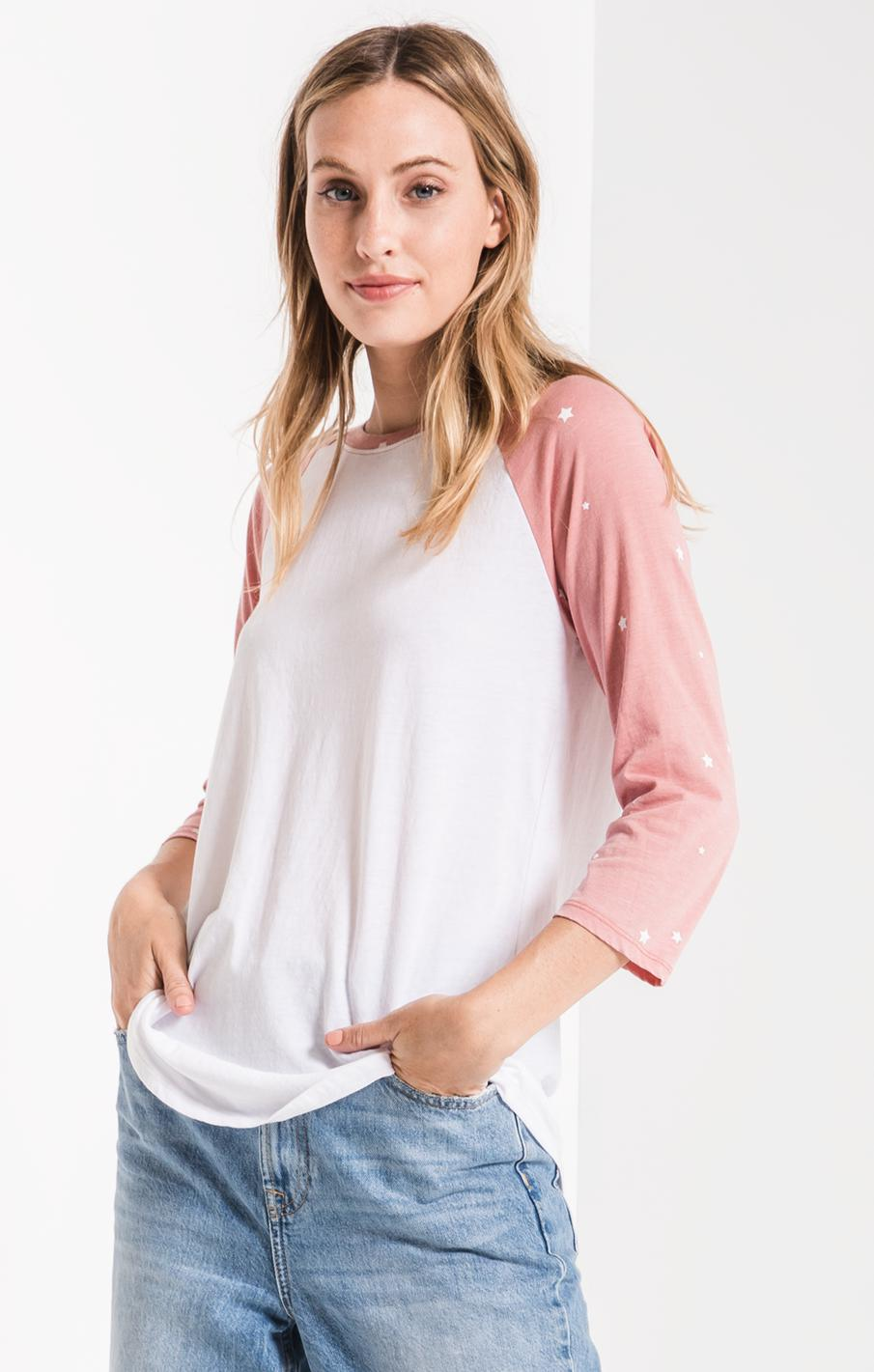Tops The Stardust Baseball Tee Old Rose