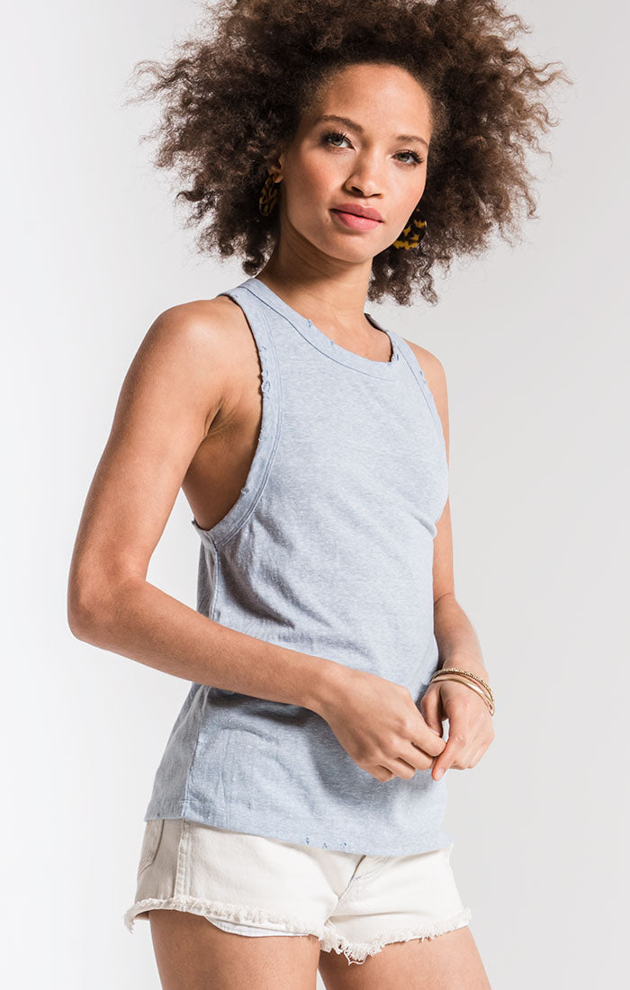 Tops The Triblend Racer Tank Allure Blue