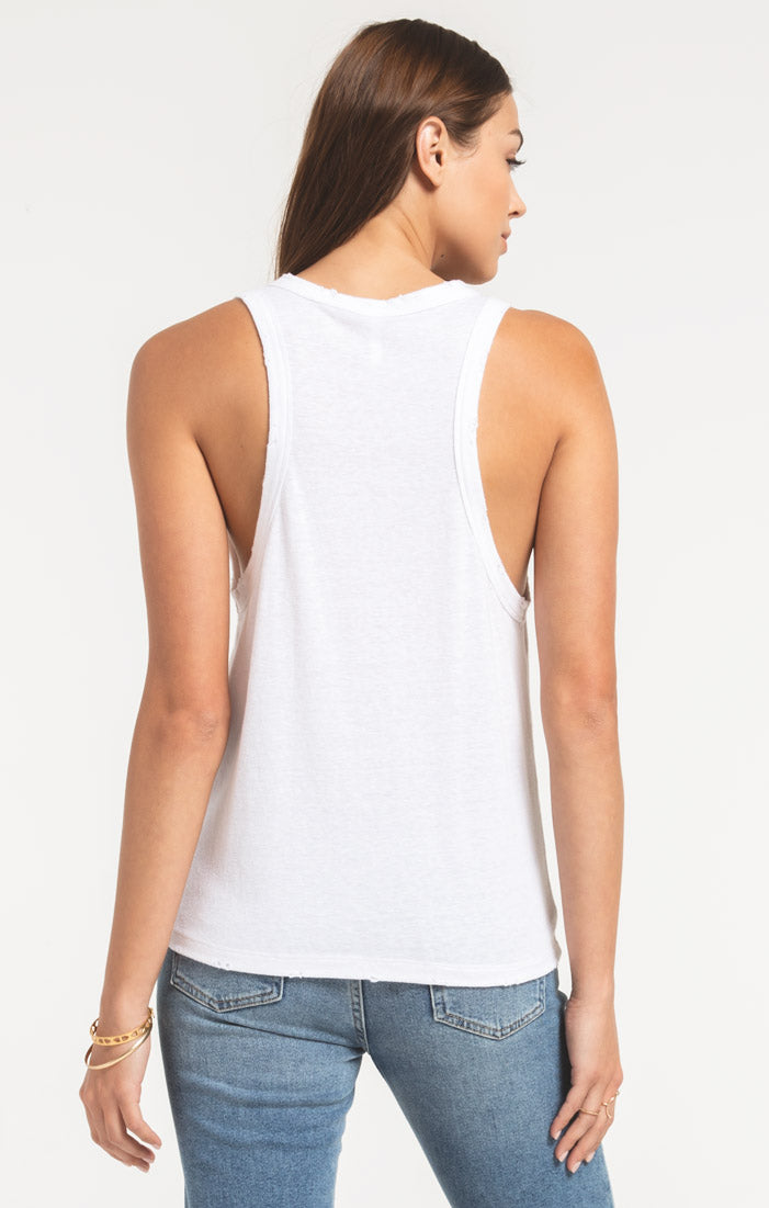 Tops The Triblend Racer Tank White