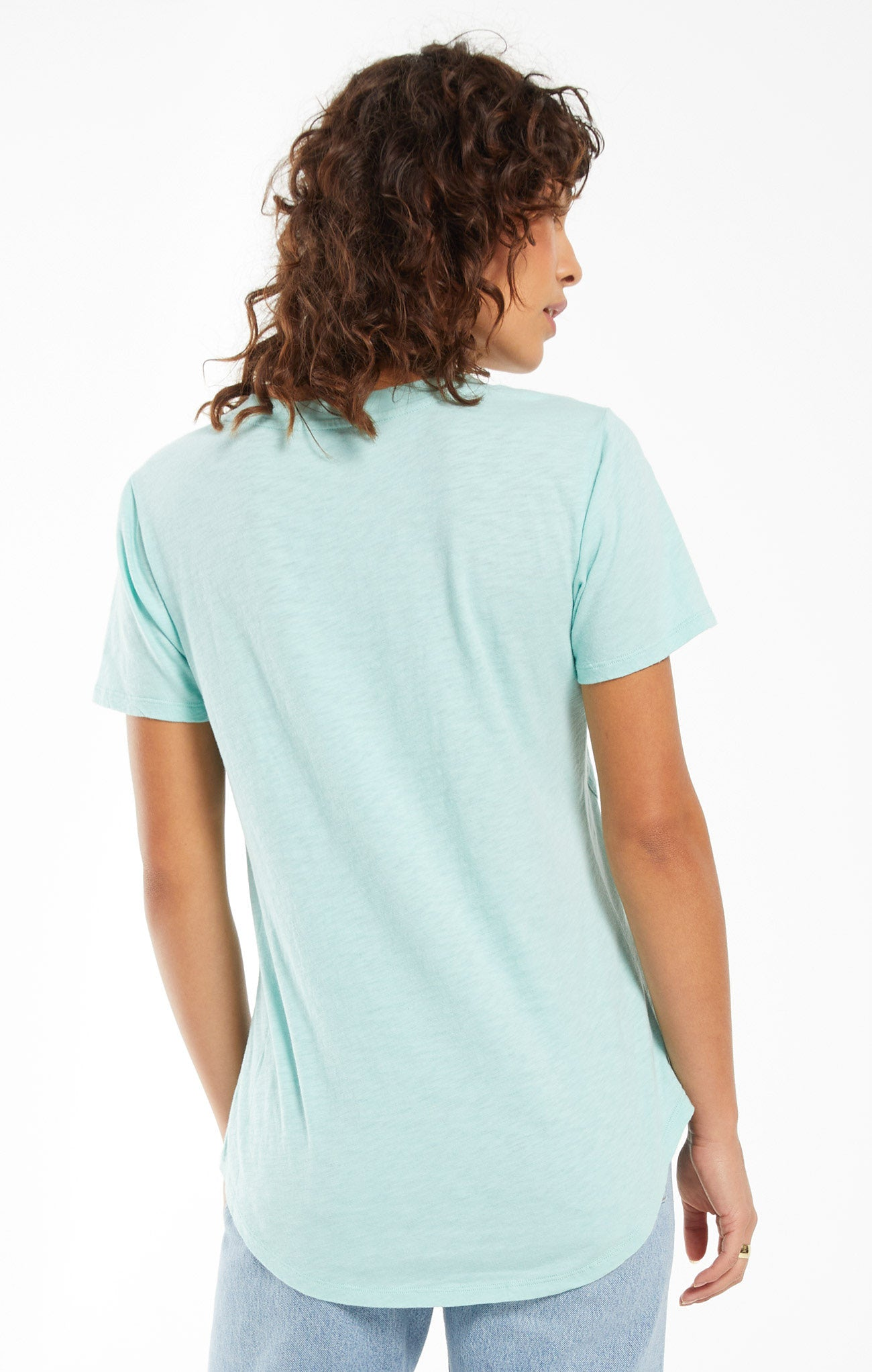 Tops Cotton Slub Pocket Tee Aqua Ocean
