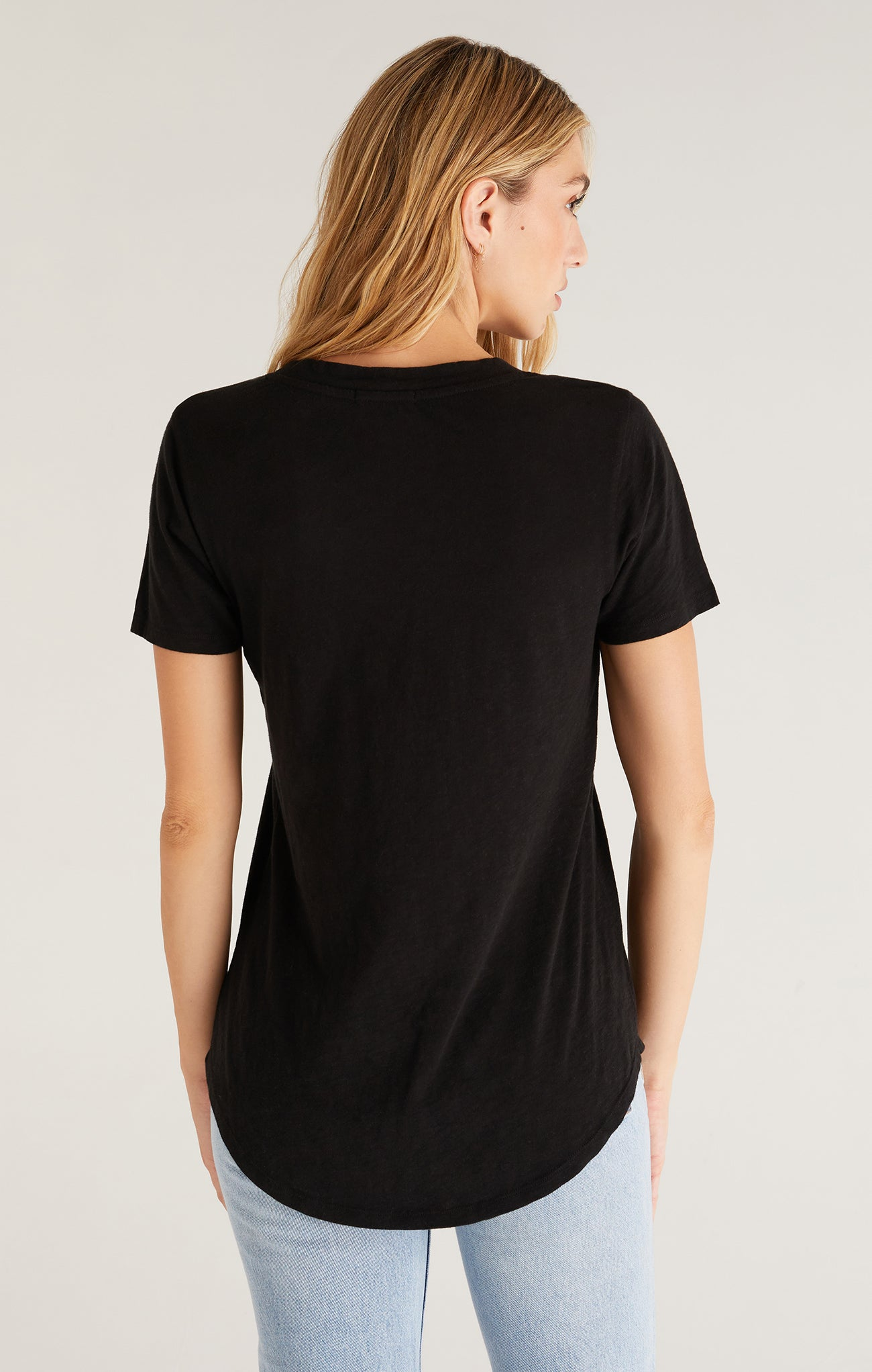 Tops Cotton Slub Pocket Tee Black
