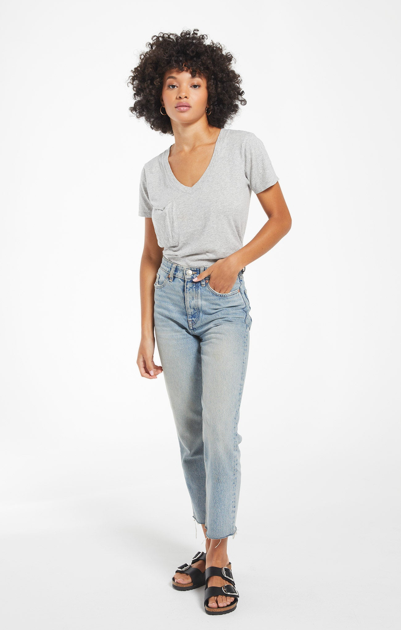 Tops Cotton Slub Pocket Tee Heather Grey