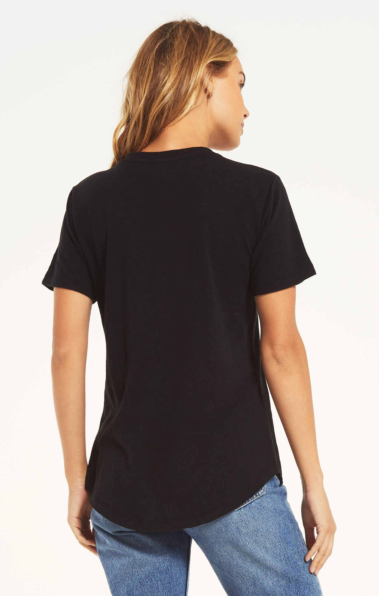 Tops Cotton Slub V-Neck Tee Black