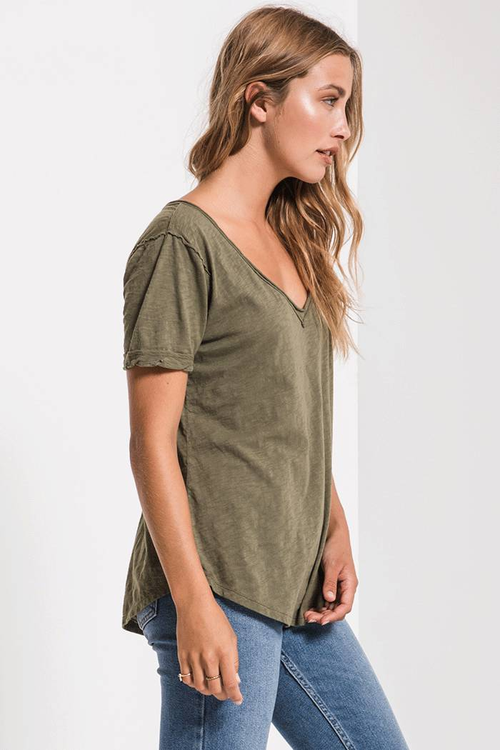 Tops Cotton Slub V-Neck Tee Leaf Clover
