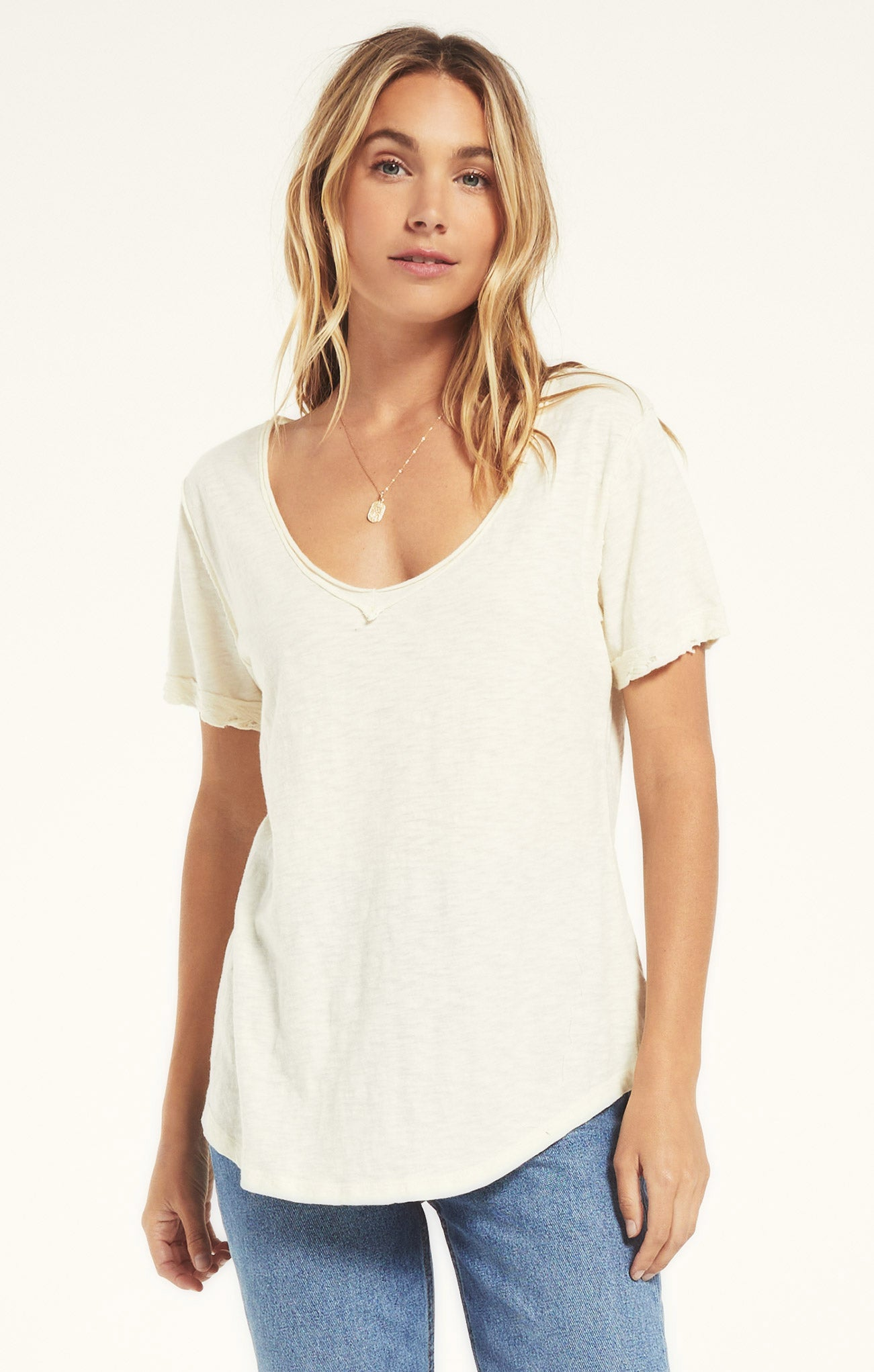 Tops Cotton Slub V-Neck Tee Natural