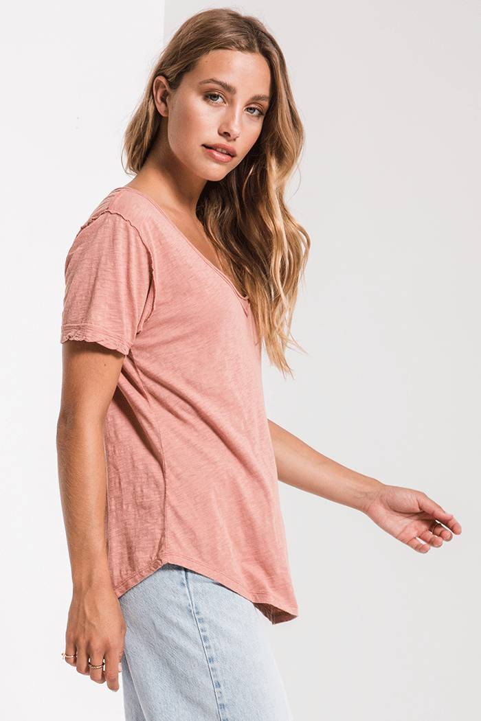 Tops Cotton Slub V-Neck Tee Old Rose