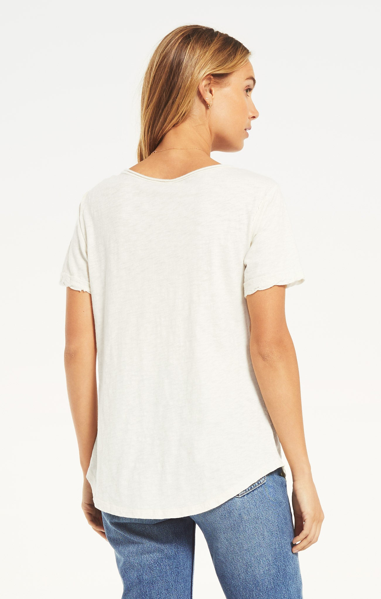 Tops Cotton Slub V-Neck Tee White
