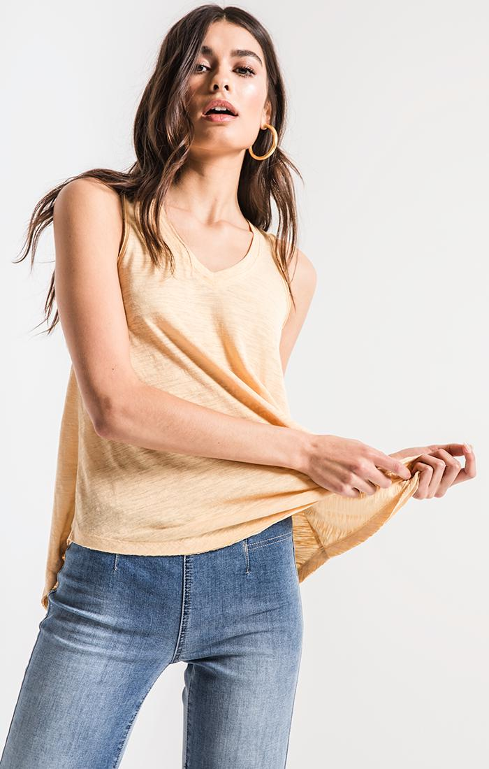 Tops Airy Slub Vagabond Yellow Cream