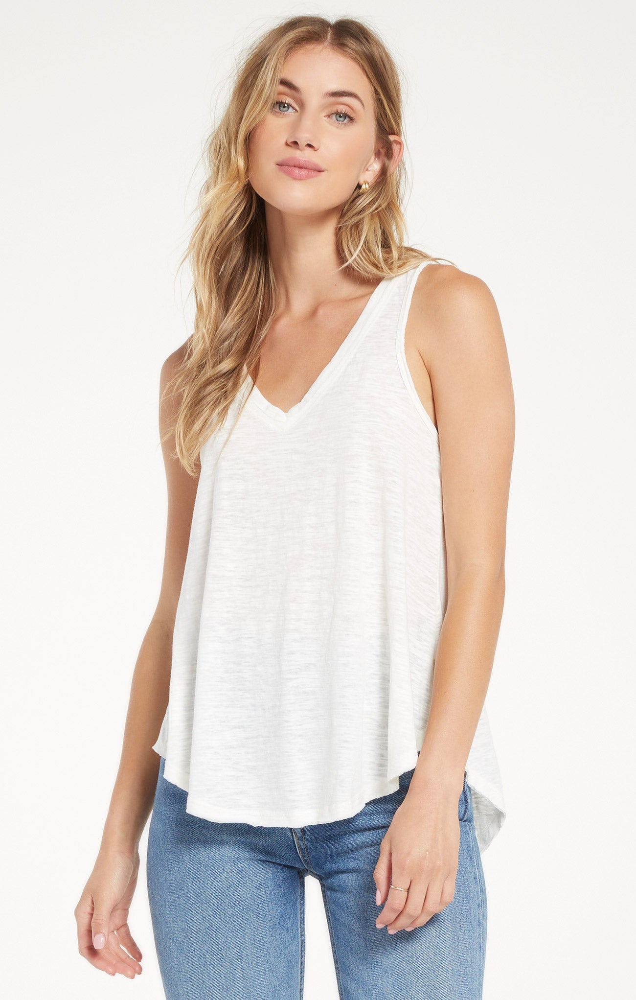 Tops Airy Slub Vagabond White