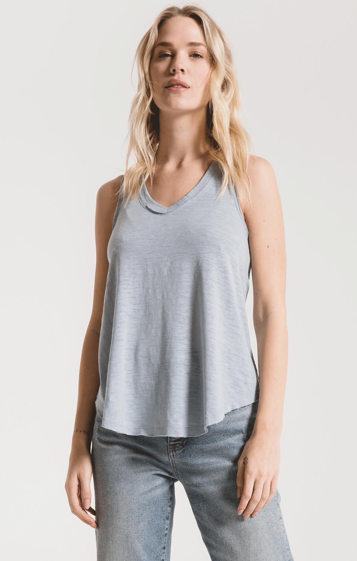 Tops Airy Slub Vagabond Dusty Blue