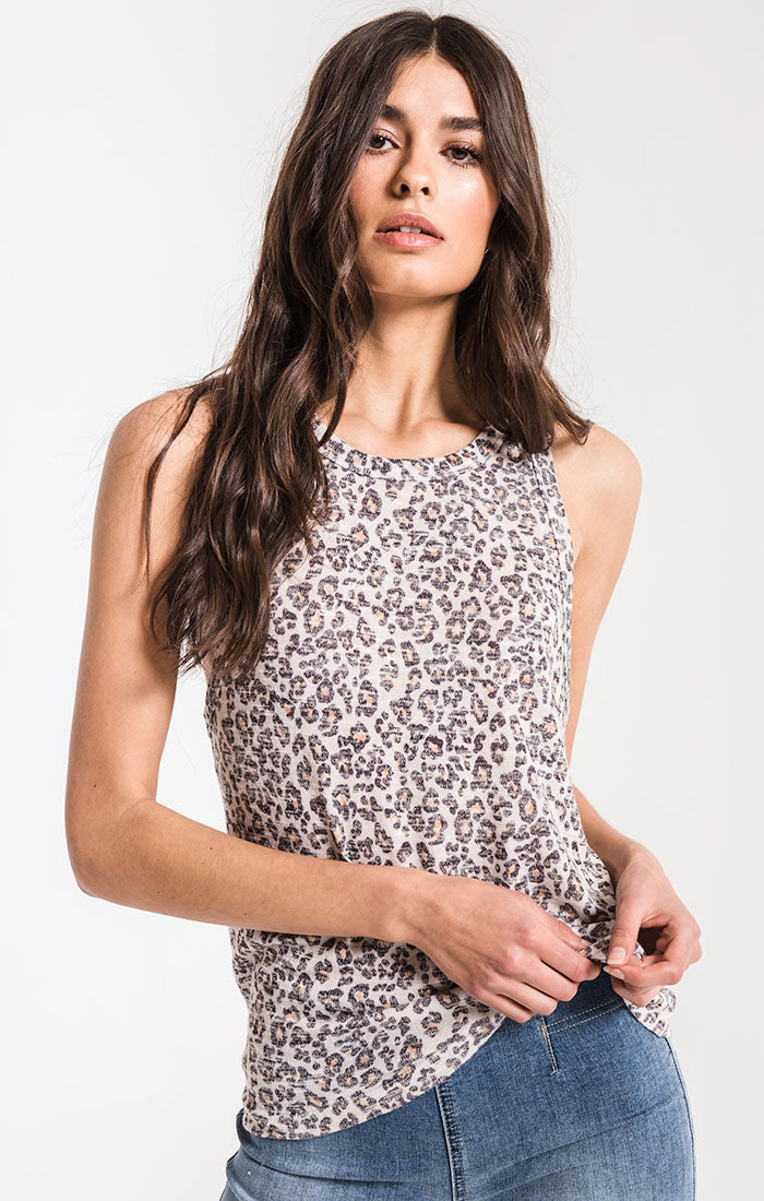 Tops Leopard Muscle Tank Natural Leopard