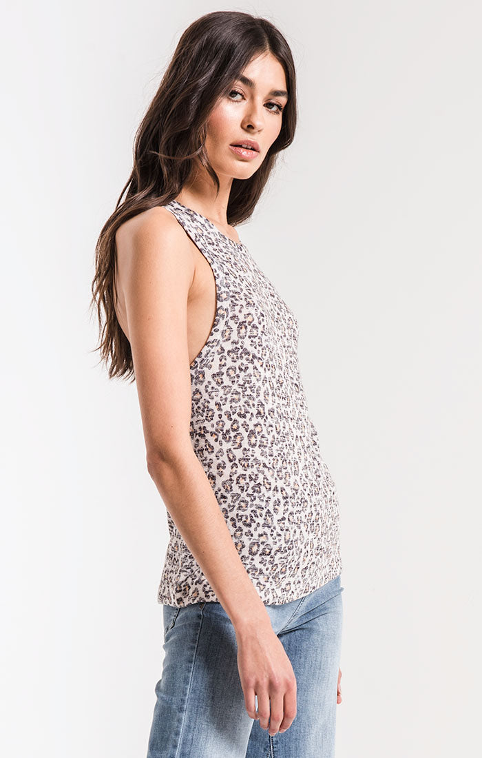 Tops The Leopard Muscle Tank Natural Leopard