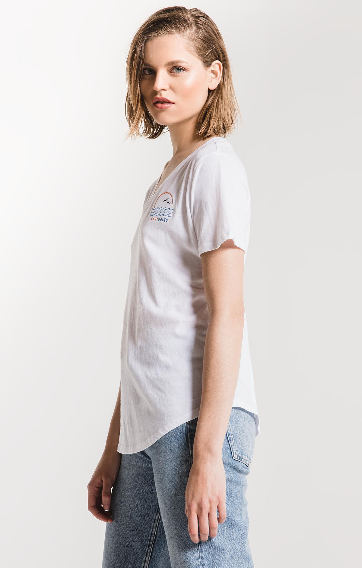 Tops The Easygoing V-Neck Tee White