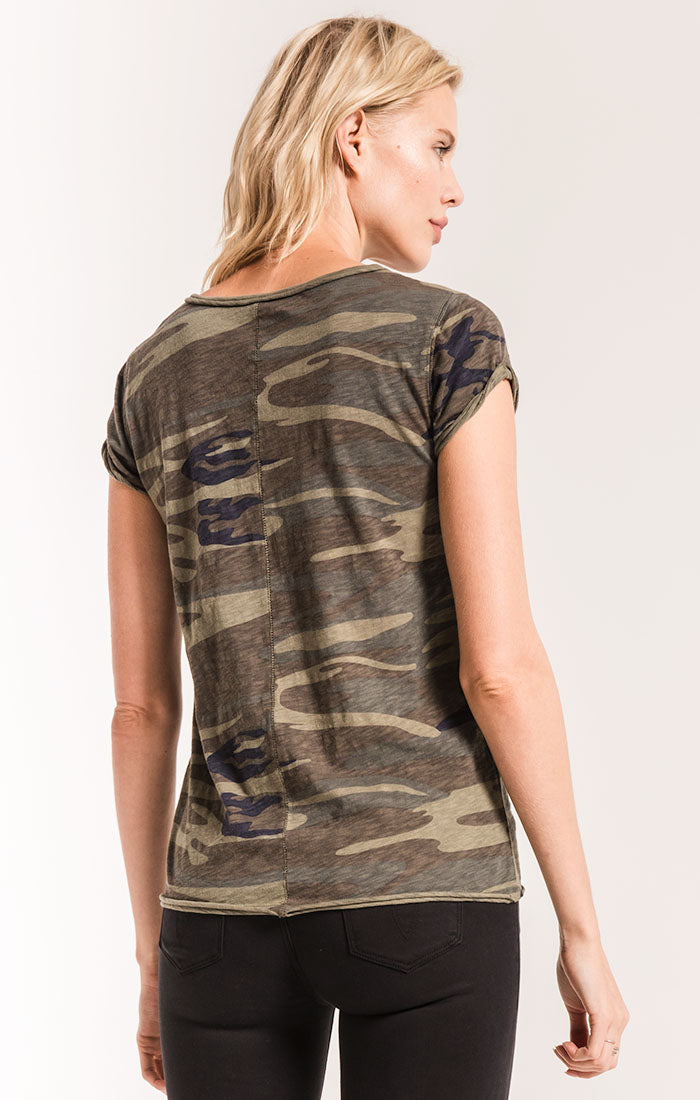 Tops Camo Cotton Slub Crew Tee Camo Green