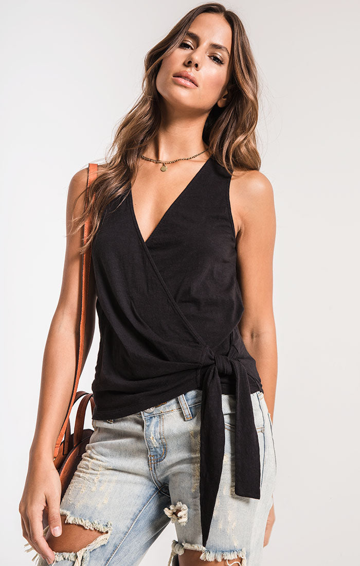 Tops The Muse Cotton Slub Wrap Tank Black